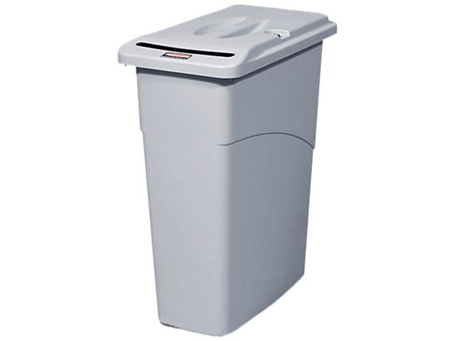 Rubbermaid Commercial 9W15LGY Slim Jim Confidential Document Receptacle w/Lid, Rectangle, 23 gal, Light Gray