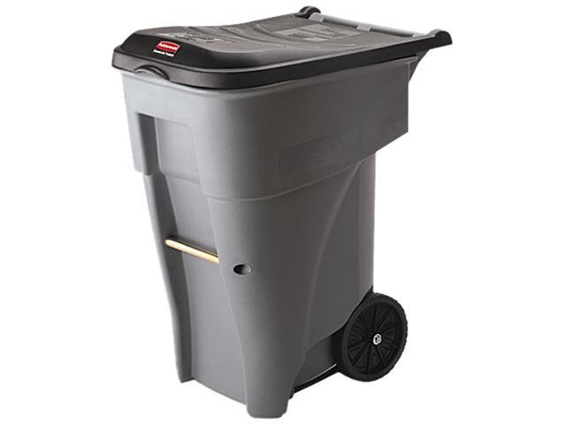 Rubbermaid Commercial 9W21GY Brute Rollout Heavy-Duty Waste Container, Square, Polyethylene, 65 gal, Gray