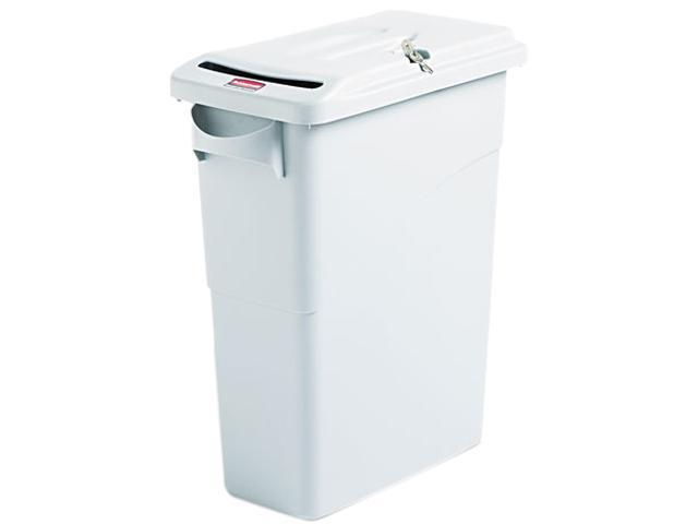 Rubbermaid Commercial 9W25LGY Slim Jim Confidential Document Receptacle w/Lid, Rectangle, 15 7/8 gal, Lt Gray