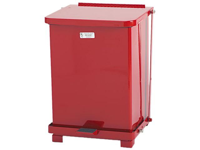 Rubbermaid Commercial ST7ERDPL Defenders Biohazard Step Can, Square, Steel, 7 gal, Red