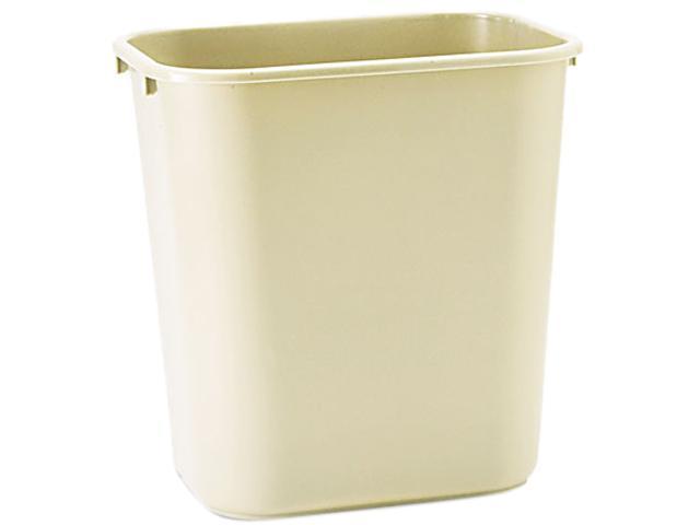 Rubbermaid Commercial 295600BG Soft Molded Plastic Wastebasket, Rectangular, 7 gal, Beige