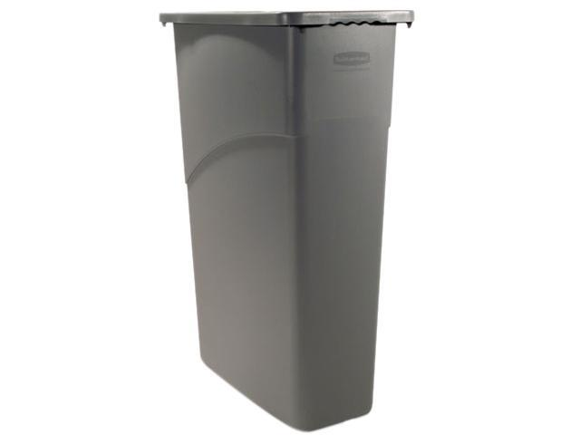 Rubbermaid Commercial 354000GY Slim Jim Waste Container, Rectanglular, Plastic, 23 gal, Gray