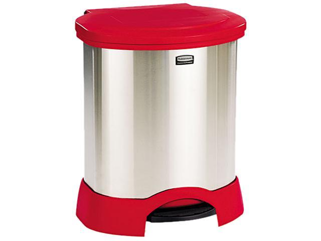 Rubbermaid Commercial 614687RD Step-On Container, Oval, Stainless Steel, 23 gal, Red