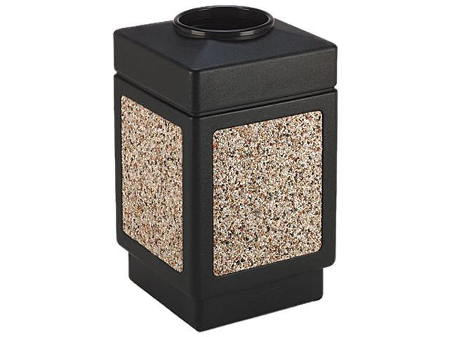Safco 9471NC Canmeleon Top-Open Receptacle, Square, Aggregate/Polyetylene, 38 gal, Black