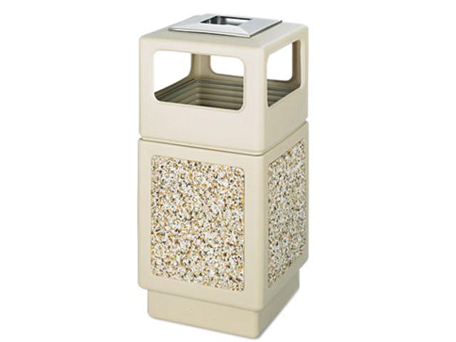 Safco 9473TN Canmeleon Ash/Trash Receptacle, Square, Aggregate/Polyethylene, 38 gal, Tan