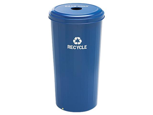 Safco 9632BU Tall Recycling Receptacle for Cans, Round, Steel, 20 gal, Recycling Blue