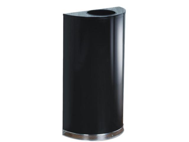 Rubbermaid Commercial SO1220B European & Metallic Series Open Top Receptacle, Half-Round, 12 gal, Black/Chrome