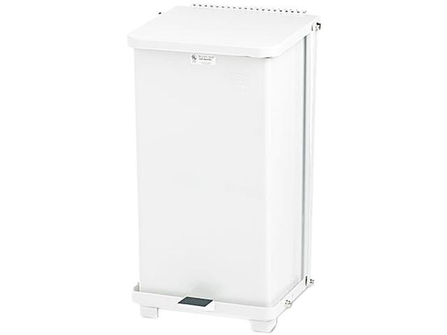 Rubbermaid Commercial ST12EPLWH Defenders Biohazard Step Can, Square, Steel, 12 gal, White