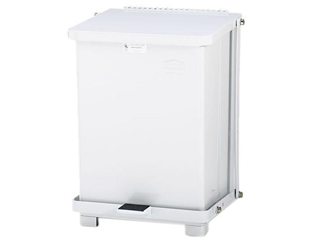 Rubbermaid Commercial ST7EWHPL Defenders Biohazard Step Can, Square, Steel, 7 gal, White