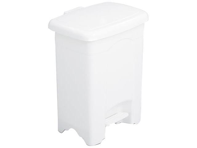 Safco 9710WH Step-On Receptacle, Rectangular, Plastic, 4 gal, White