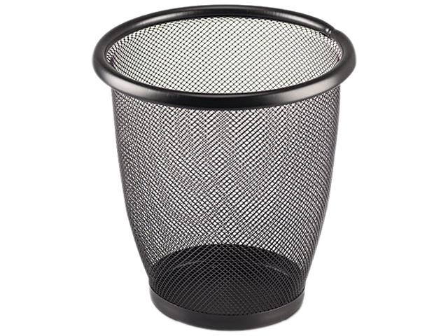 Safco 9716BL Onyx Round Mesh Wastebasket, Steel Mesh, 3 qt, Black