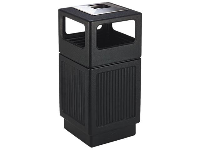 Safco 9477BL Canmeleon Ash/Trash Receptacle, Square, Polyethylene, 38 gal, Textured Black