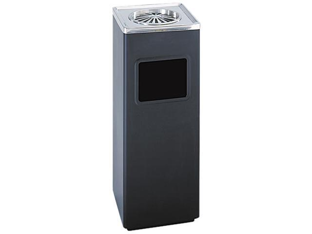 Safco 9696BL Ash 'N Trash Sandless Urn, Square, Stainless Steel, 3gal, Black/Chrome