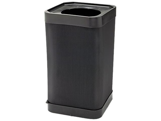 Safco 9790BL At-Your Disposal Top-Open Waste Receptacle, Square, Polyethylene, 38 gal, Black