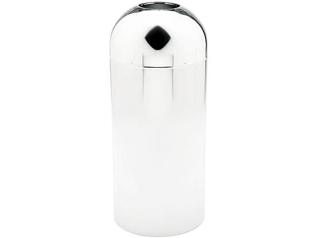Safco 9875 Reflections Open-Top Dome Receptacle, Round, Steel, 15 gal, Chrome