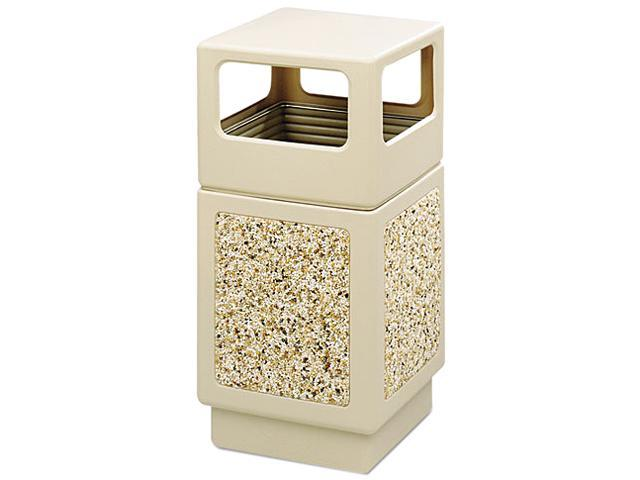 Safco 9472TN Canmeleon Side-Open Receptacle, Square, Aggregate/Polyethylene, 38 gal, Tan