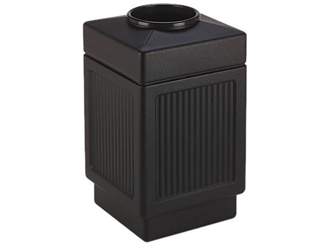 Safco 9475BL Canmeleon Top-Open Receptacle, Square, Polyethylene, 38 gal, Textured Black