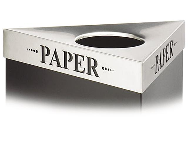 "Safco 9560PA Trifecta Waste Receptacle Lid, Laser Cut ""PAPER"" Inscription, Stainless Steel"
