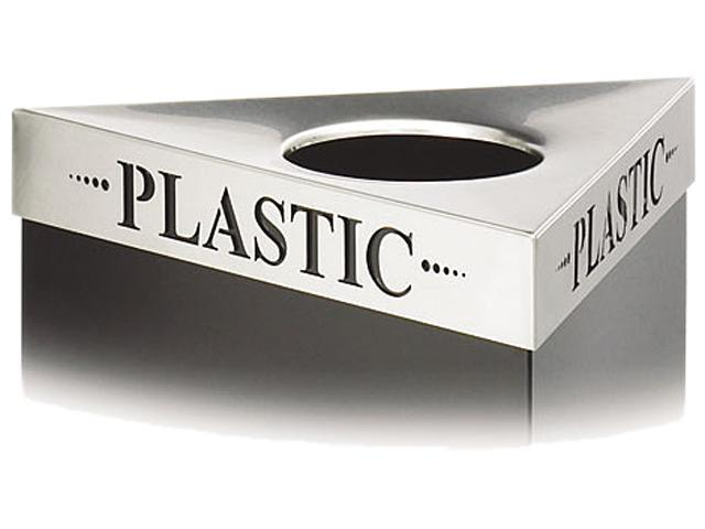 "Safco 9560PC Triangular Lid For Trifectat Receptacle, Laser Cut ""PLASTIC"" Inscription, STST"