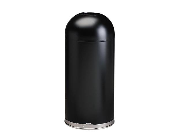 Safco                                    Open-Top Dome Receptacle, Round, Steel, 15 gal, Black