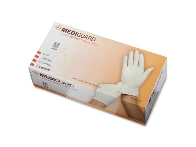 Medline MG1205 MediGuard Powdered Latex Exam Gloves, Medium, 100/Box