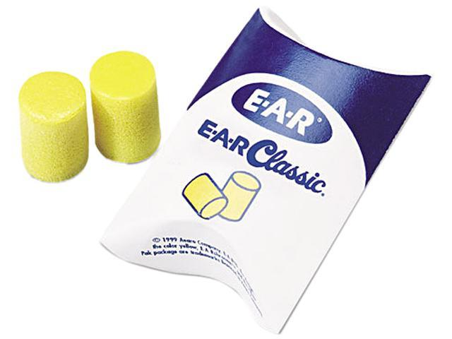 E·A·R 310-1001 Classic Ear Plugs, Pillow Paks, Uncorded, PVC Foam, Yellow, 200 Pairs/Box