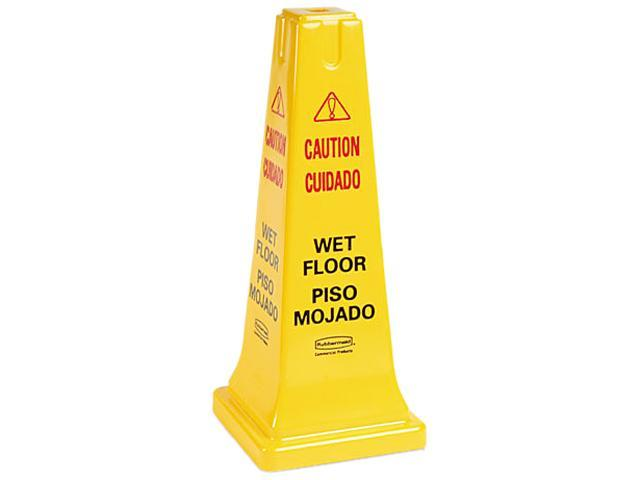 Rubbermaid Commercial 6277-77 Four-Sided Caution, Wet Floor Safety Cone, 10-1/2w x 10-1/2d x 25-5/8h, Yellow