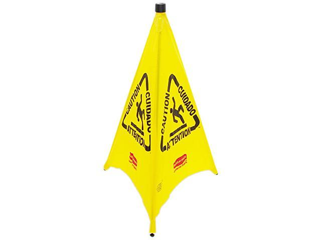 Rubbermaid Commercial 9S0100YL Three-Sided Caution, Wet Floor Safety Cone, 21w x 21d x 30h, Yellow