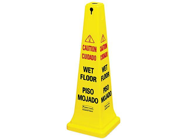 Rubbermaid Commercial 6276-77 Four-Sided Caution, Wet Floor Yellow Safety Cone, 12-1/4 x 12-1/4 x 36h