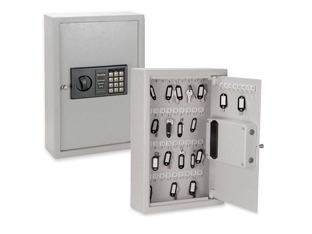Buddy Products Locking Electronic Keypad 48-Key Steel Cabinet, 11 3/4w x 4d x 17 3/4h, Platinum
