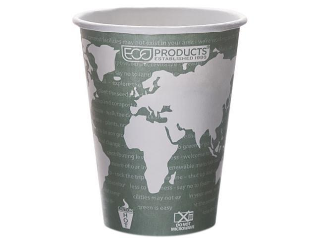 Eco-Products EPBHC12WA World Art Renewable Resource Compostable Hot Cups, 12 oz, Green, 1000/Ctn