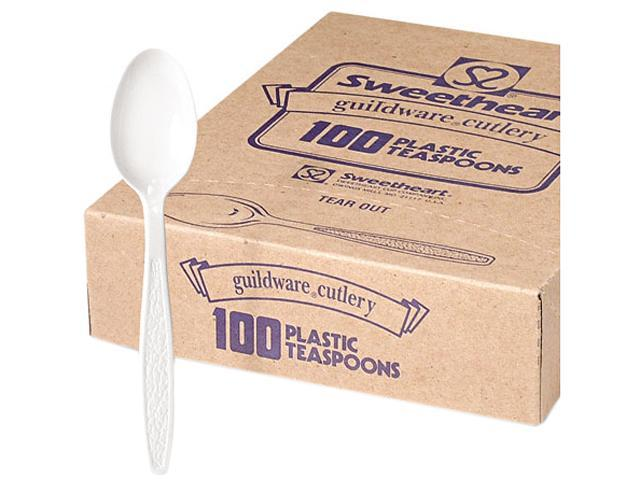 SOLO Cup Company GBX7TW Guildware Heavyweight Plastic Teaspoons, White, 10 Boxes of 100