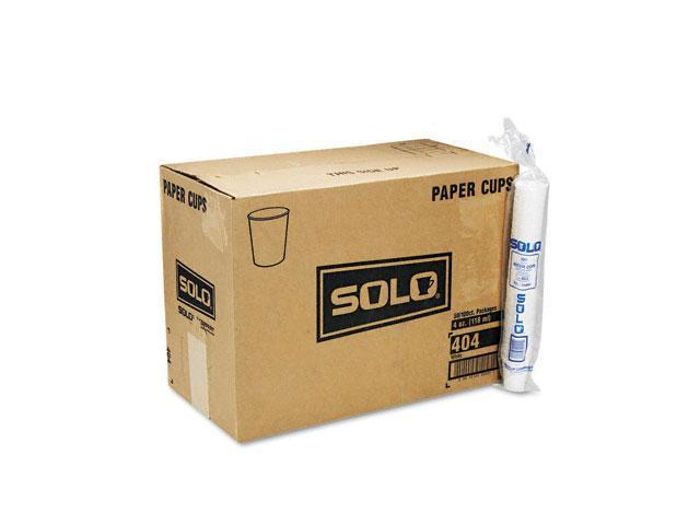 SOLO Cup Company 404CT White Paper Water Cups, 4 oz., 50 Bags of 100/Carton