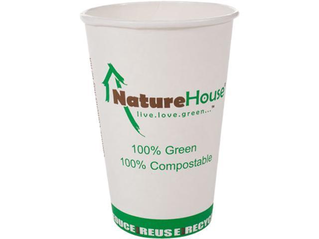 NatureHouse C008 Compostable Paper/PLA Cup, 8 oz, Black, 50/pack