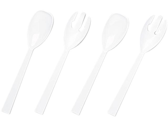 Tablemate W95PK4 Table Set Plastic Serving Forks & Spoons, White, 2/Pack, 12 Packs/Box