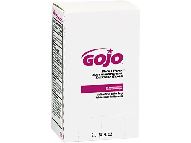 GOJO 7220 RICH PINK Antibacterial Lotion Soap Refill, 2000 mL, Pink, 4 Each