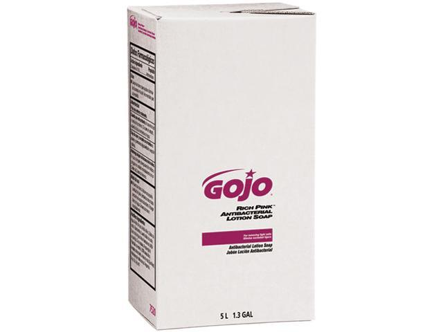 GOJO 7520 RICH PINK Antibacterial Lotion Soap Refill, 5000 mL, Floral Scent,Pink, 2/Carton