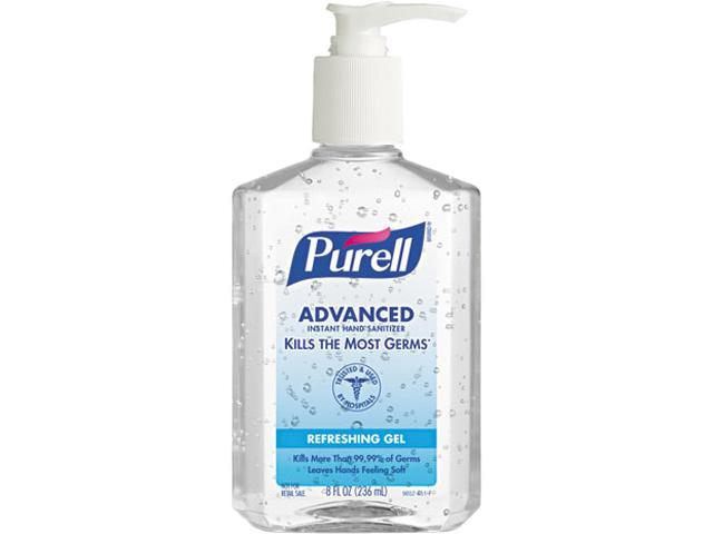 PURELL 9652-12CT Instant Hand Sanitizer, 8-oz. Pump Bottle, 12/Carton