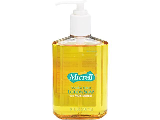 GOJO 9752-12CT MICRELL Antibacterial Lotion Soap, Unscented Liquid, 8 oz Pump, 12/Carton