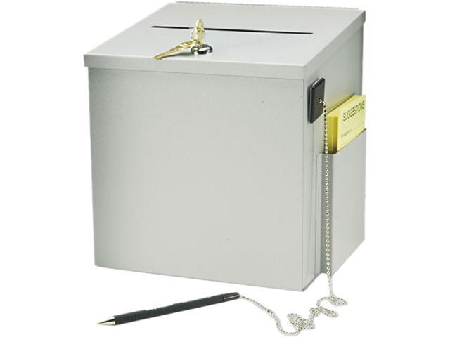 Buddy Products 5620-32 Recycled Steel Suggestion Box with Locking Top, 8-1/2 x 8 x 9-3/4, Platinum