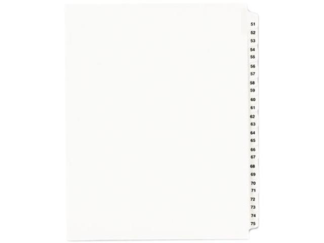 Avery 01332 Avery-Style Legal Side Tab Divider, Title: 51-75, Letter, White, 1 Set