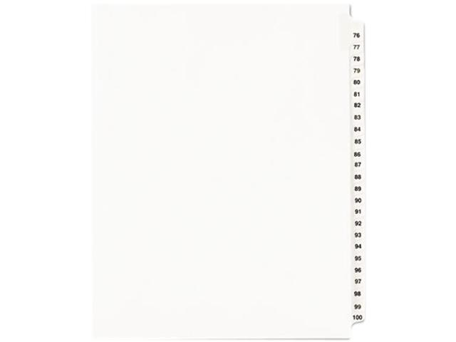 Avery 01333 Avery-Style Legal Side Tab Divider, Title: 76-100, Letter, White, 1 Set