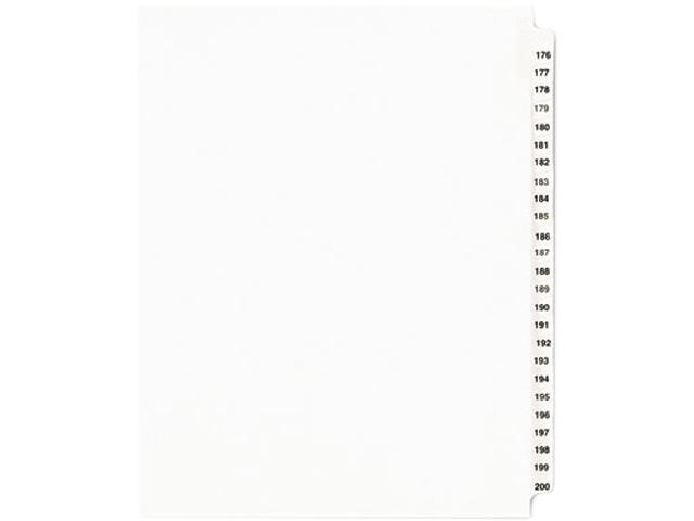 Avery 01337 Avery-Style Legal Side Tab Divider, Title: 176-200, Letter, White, 1 Set