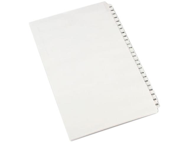 Avery 01434 Avery-Style Legal Side Tab Divider, Title: 101-125, 14 x 8 1/2, White, 1 Set