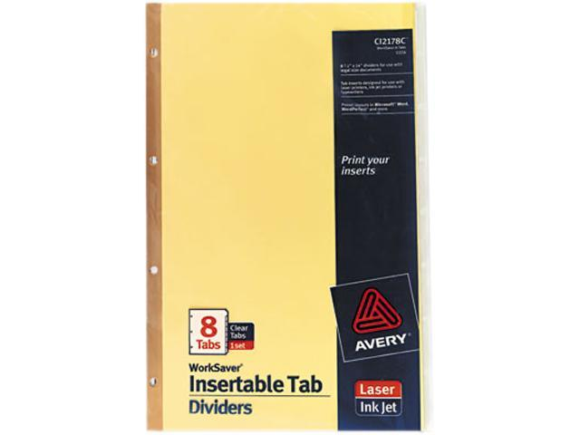 Avery 11116 WorkSaver Insertable Tab Index Dividers, 8-Tab, Legal, Clear, 8/Set