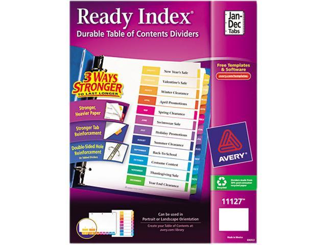 Avery 11127 Ready Index Contemporary Table of Contents Divider, Jan-Dec, Multi, Letter