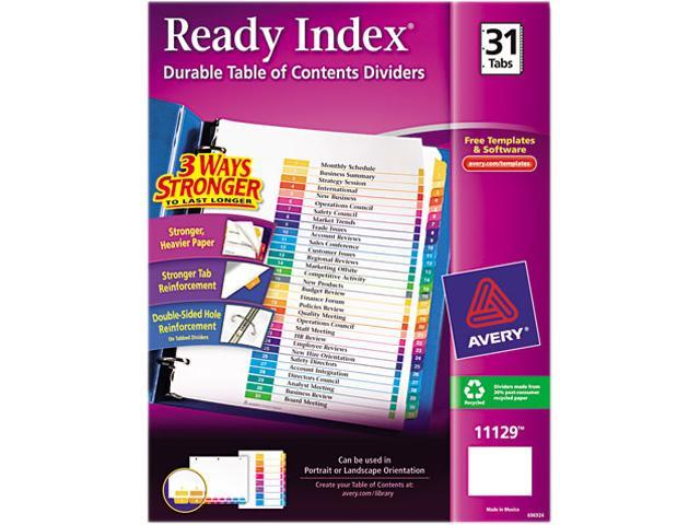 Ready Index Customizable Table of Contents Multicolor Dividers 31-Tab Letter