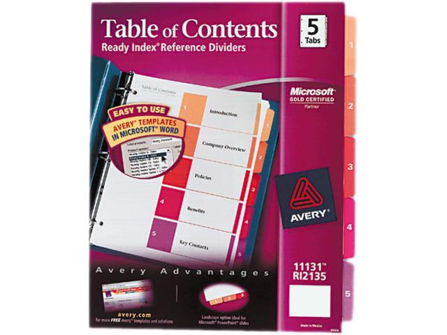 Ready Index Customizable Table of Contents Multicolor Dividers 5-Tab Letter