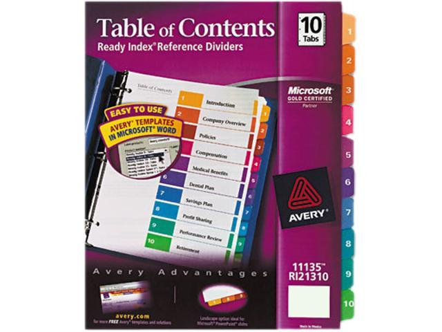 Avery 11135 Ready Index Contemporary Table of Contents Divider, 1-10, Multi, Letter