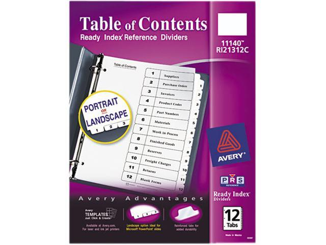 Avery 11140 Ready Index Classic Tab Titles, 12-Tab, 1-12, Letter, Black/White, 12/Set